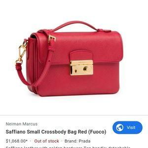 Prada small saffiano bag in red fuoco